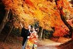 美しい紅葉の中でロケーションフォトウェディング【京都ブライダルフォトワークス】