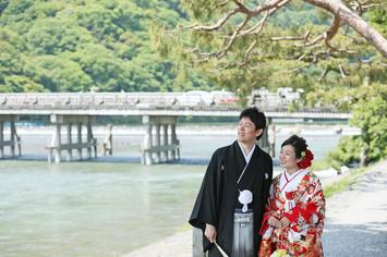 京都嵐山 竹林と渡月橋で前撮り