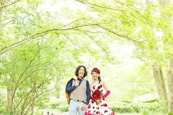 京都府立植物園でカラードレスの前撮り