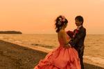 びわ湖のほとりで洋装サンセットロケーション撮影【カラードレス】