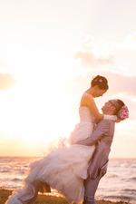 びわ湖で洋装サンセットロケーション撮影【京都ブライダル結婚写真専門店】