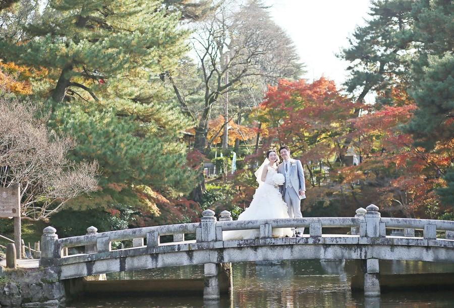 京都円山公園で洋装ロケ
