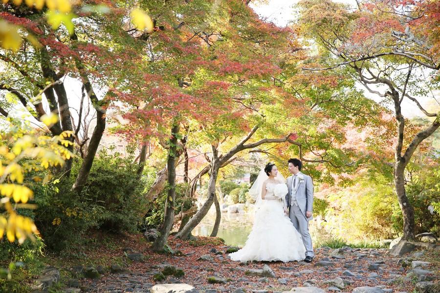 京都円山公園でウェディングドレスフォト