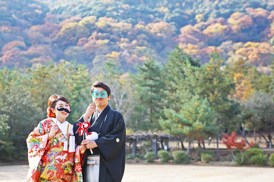 京都嵐山渡月橋の紅葉