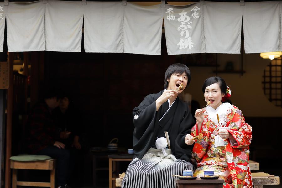 今宮神社で前撮りならあぶり餅が人気