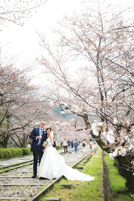 京都インクラインで桜フォトウェディング