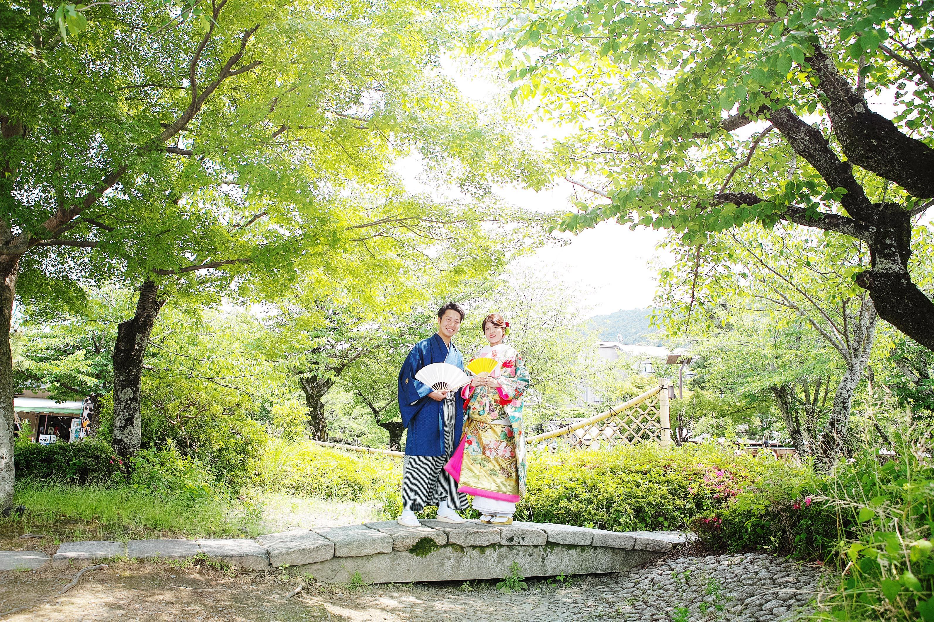 京都嵐山で和装の前撮り