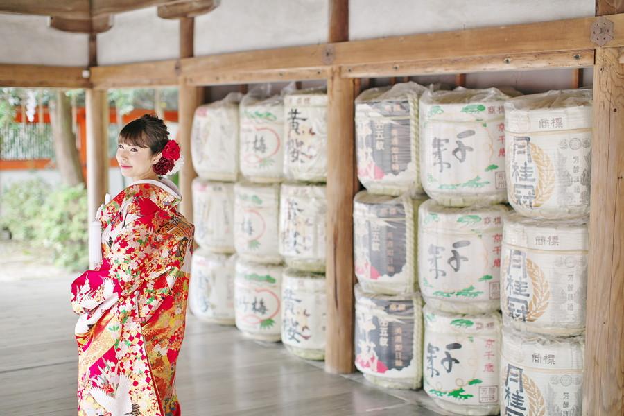 吉田神社で和装ロケーションフォトウェディング