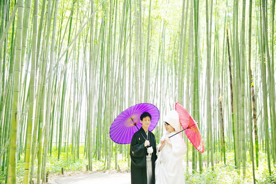 嵐山竹林で白無垢の撮影