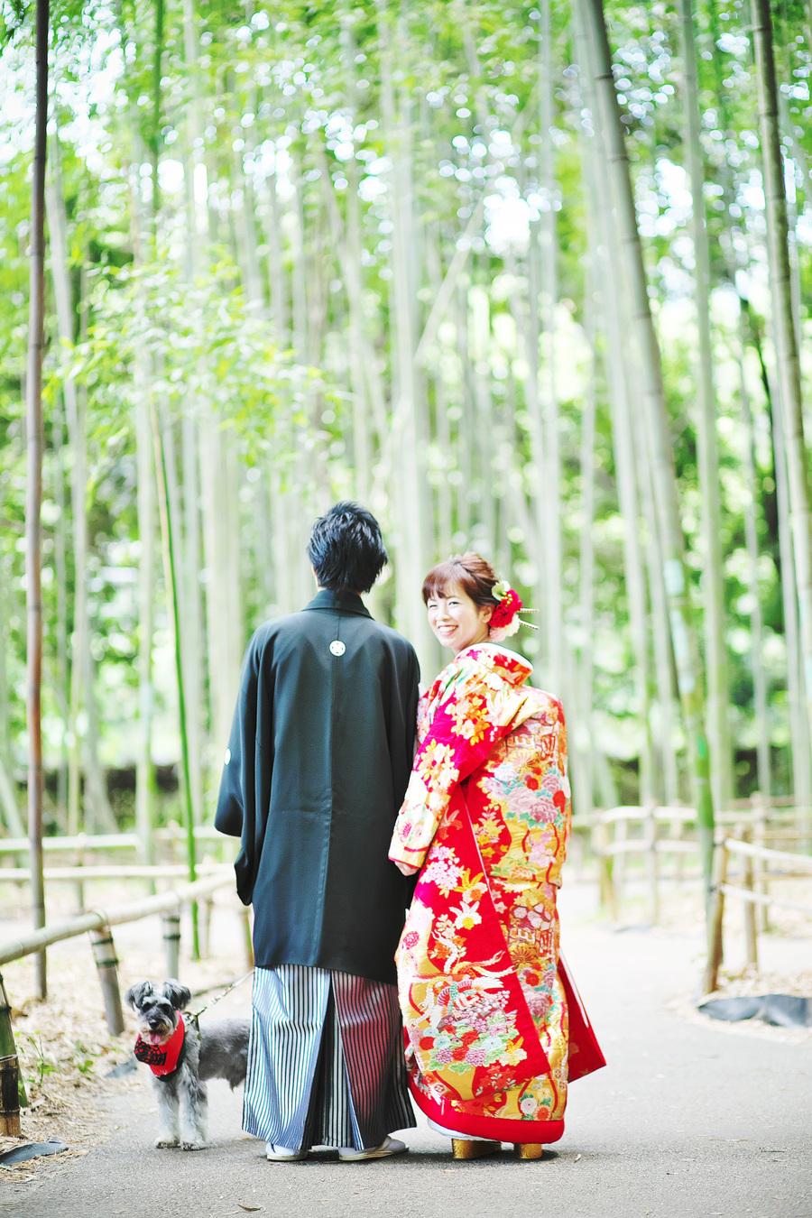 愛犬と一緒に京都で撮影