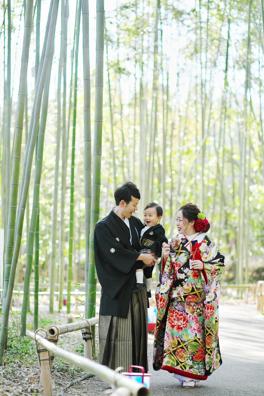 嵐山の竹林で和装ロケ