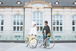 自転車と一緒に和装ロケ