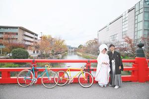 自転車と一緒に前撮り