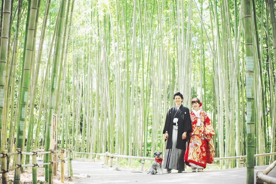 愛犬と一緒に竹林で和装ロケーション撮影
