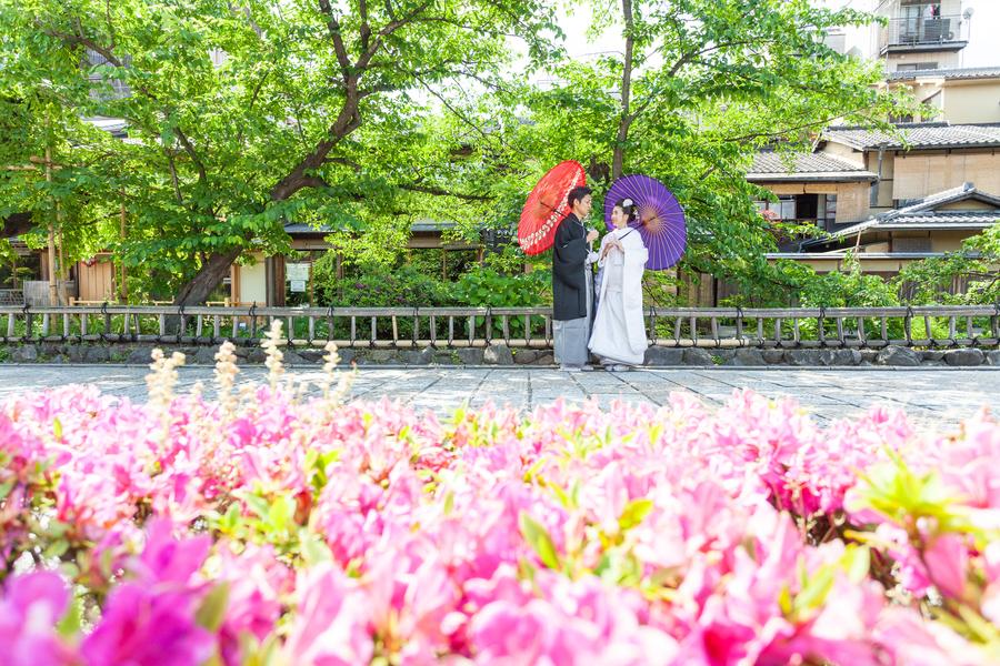 春の祇園で結婚の前撮り