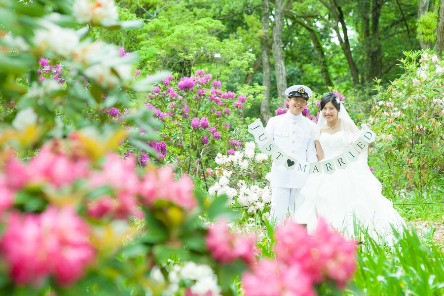 春のお花に囲まれて結婚の前撮り
